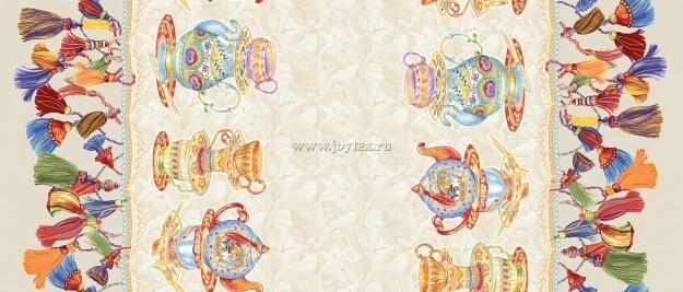 """Ткань Рогожка """"Чайники"""" рис. 18810"""