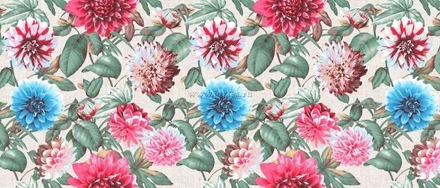 """Ткань Рогожка """"Герберы"""" рис. 18865"""