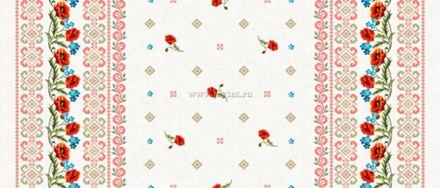 """Ткань Рогожка """"Маки на льне"""" рис. 18714"""
