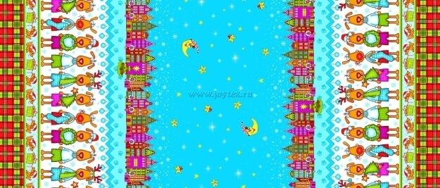 """Ткань Рогожка """"Новый год собачки"""" рис. 21013"""