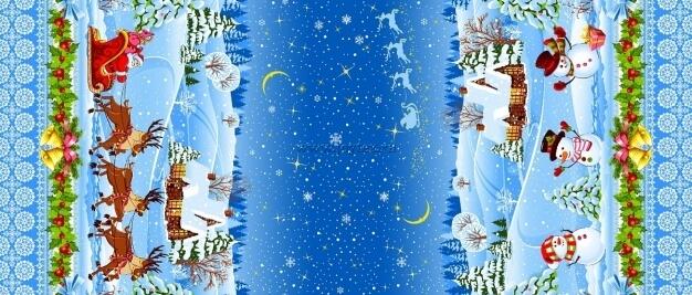 """Ткань Рогожка """"Новый год снеговик"""" рис. 18746"""