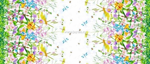 """Ткань Рогожка """"Весенние цветы"""" рис. 18849"""